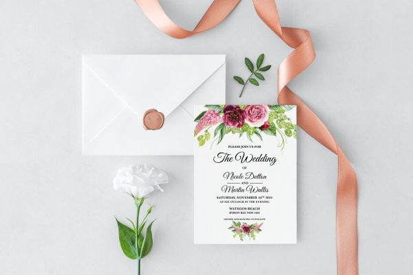 Peonies and Green Hops Wedding Invitation
