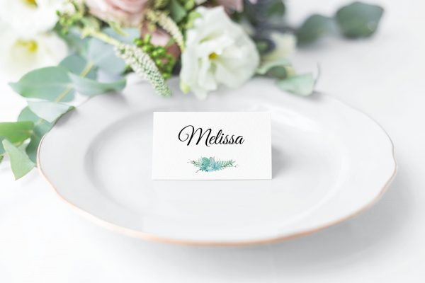 Frosted Succulents Place Card