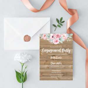 Rustic Pink Peonies Engagement Invitation