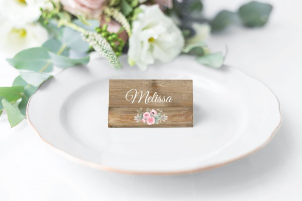 Rustic Pink Peonies Place Card