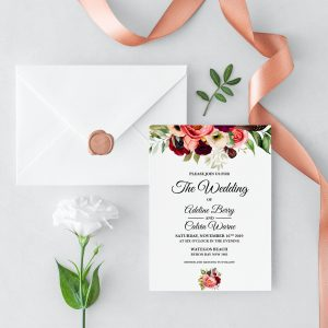 Autumn Blooms Wedding Invitation