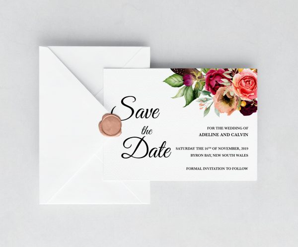 Autumn Blooms Save the Date Card