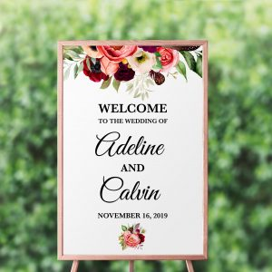Autumn Blooms Welcome Sign