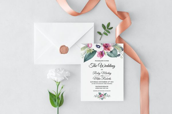 Anemone and Eucalyptus Wedding Invitation