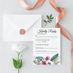 Anemone and Eucalyptus RSVP Card