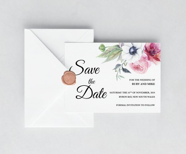 Anemone and Eucalyptus Save the Date Card