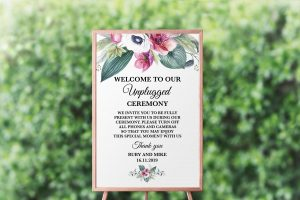 Anemone and Eucalyptus Unplugged Sign