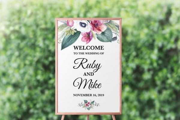 Anemone and Eucalyptus Welcome Sign