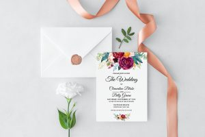 Berry and Blush Blooms Wedding Invitation