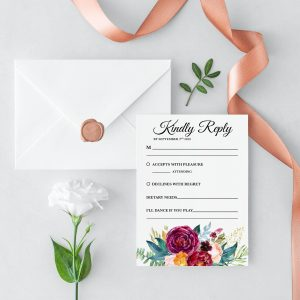 Berry and Blush Blooms RSVP Card