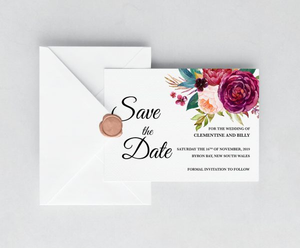 Berry and Blush Blooms Save the Date Card
