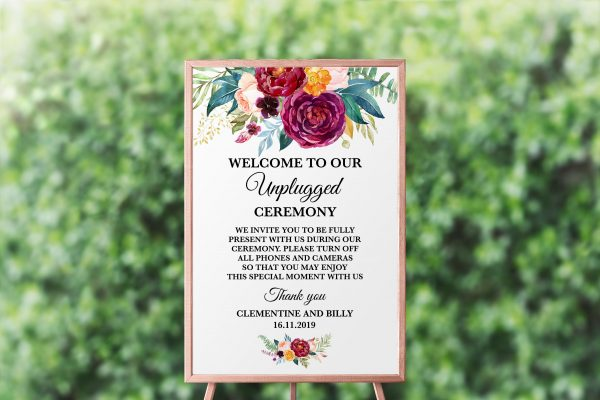 Berry and Blush Blooms Unplugged Sign