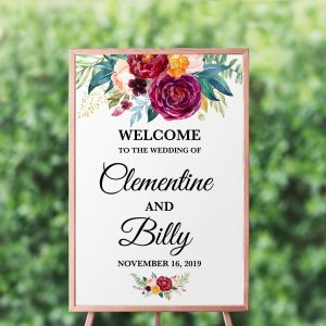 Berry and Blush Blooms Welcome Sign