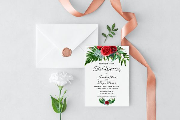 Crimson Natives Wedding Invitation
