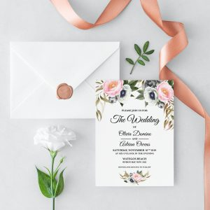 Dusty Blooms Wedding Invitation