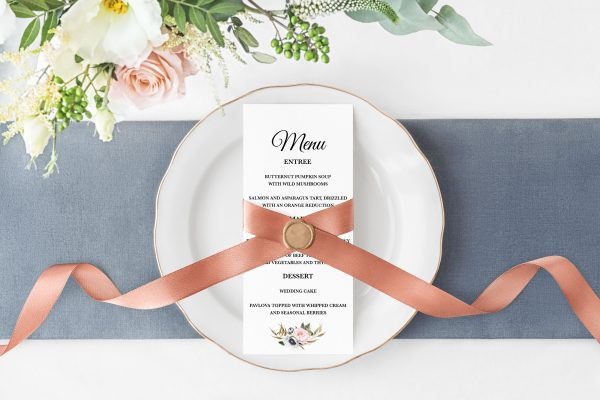 Dusty Blooms Menu Cards