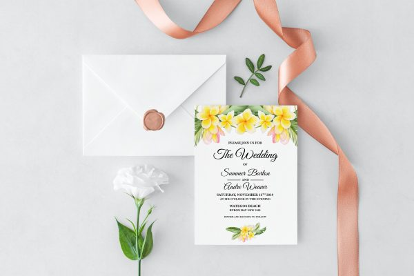 Frangipani Bliss Wedding Invitation