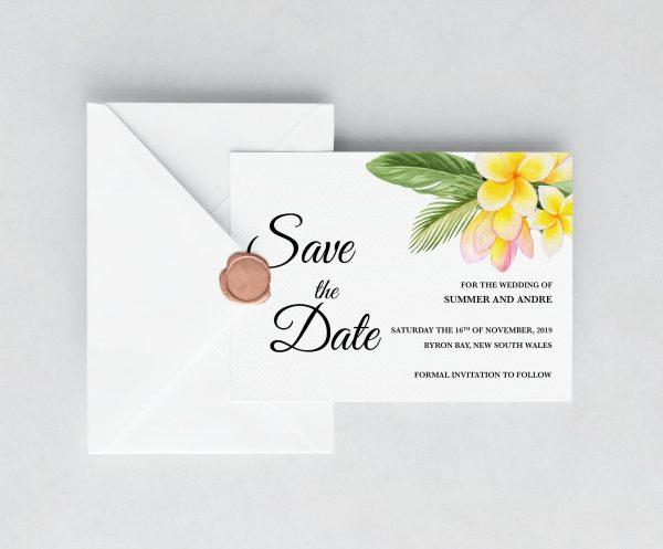 Frangipani Bliss Save the Date Card