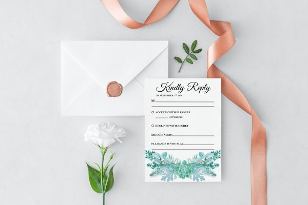 Frosted Succulents RSVP Card