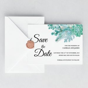 Frosted Succulents Save the Date Card