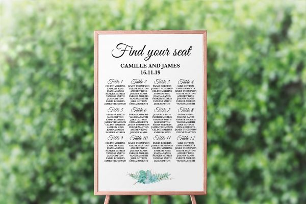 Frosted Succulents Seating Chart