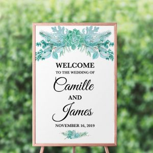 Frosted Succulents Welcome Sign