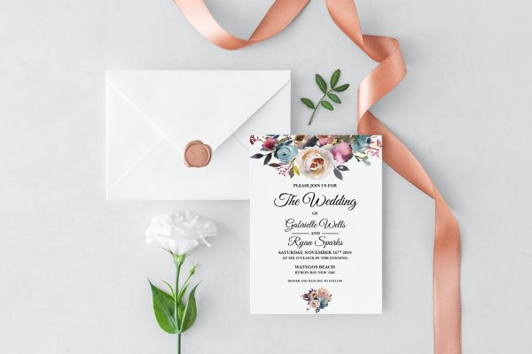 Misty Rose Wedding Invitation