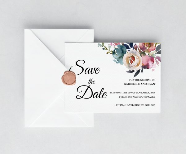 Misty Rose Save the Date Card