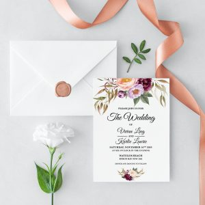 Marsala Blooms Wedding Invitation