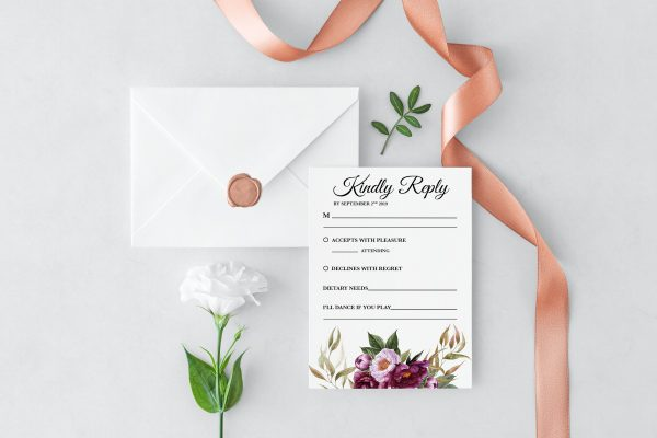 Marsala Blooms RSVP Card