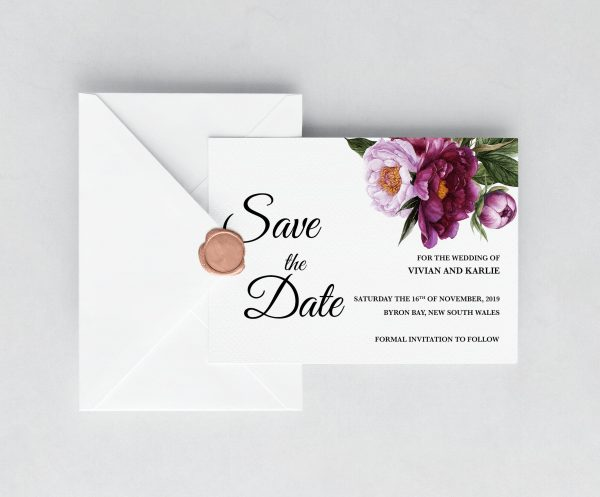 Marsala Blooms Save the Date Card