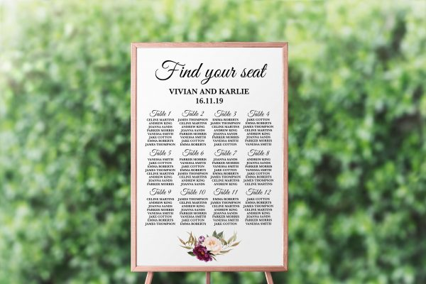 Marsala Blooms Seating Chart
