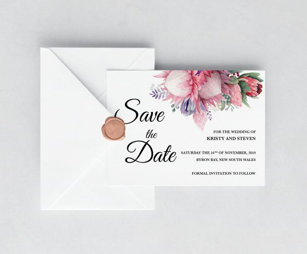 Native Florals Save the Date Card
