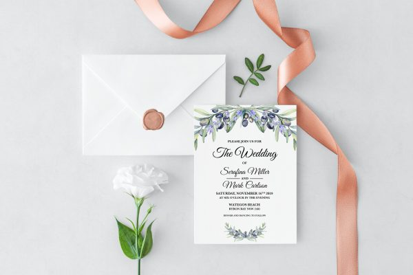 Olive and Lavender Wedding Invitation