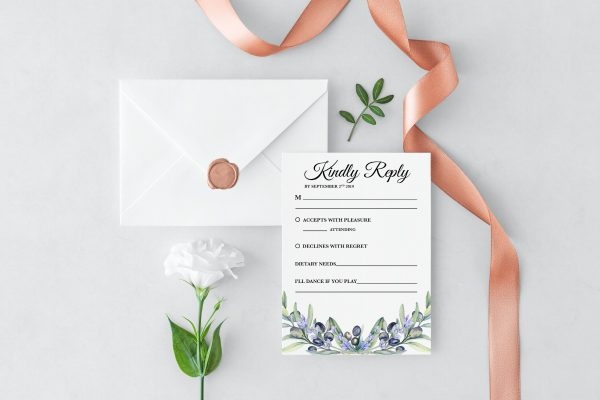 Olive and Lavender RSVP Card