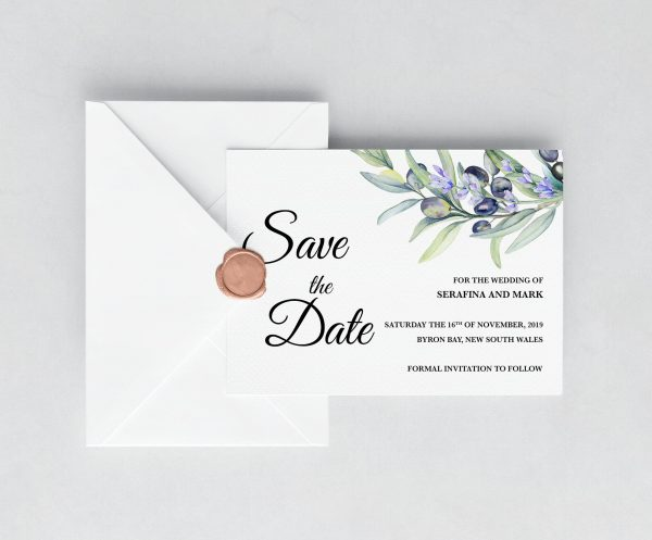 Olive and Lavender Save the Date Card