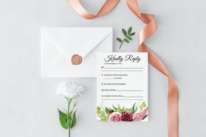 Peonies and Green Hops RSVP Card
