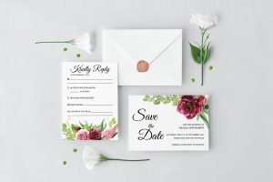 Peonies and Green Hops Wedding Set