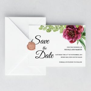 Peonies and Green Hops Save the Date Card