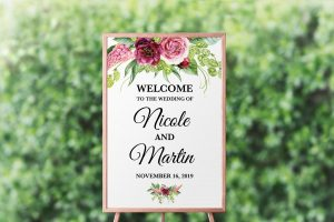 Peonies and Green Hops Welcome Sign