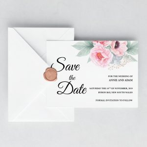 Pink Peonies Save the Date Card