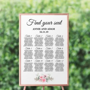Pink Peonies Seating Chart