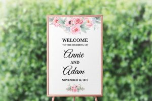 Pink Peonies Welcome Sign