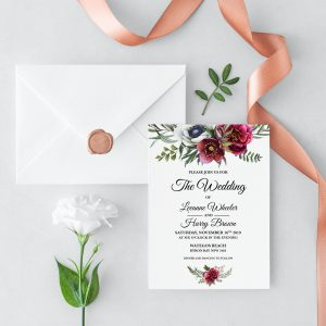 Ruby Helleborus Wedding Invitation
