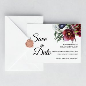 Ruby Helleborus Save the Date Card