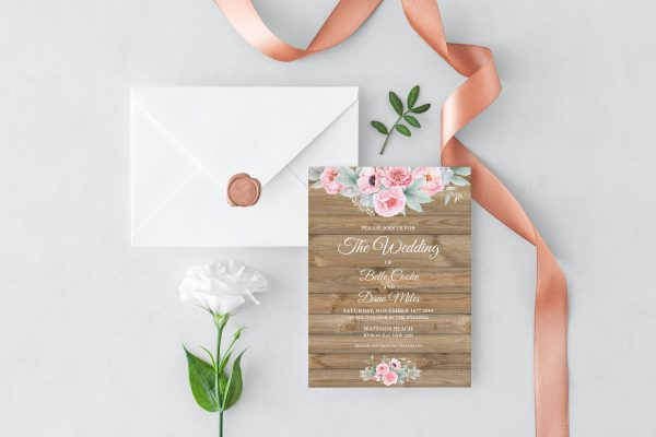 Rustic Pink Peonies Wedding Invitation