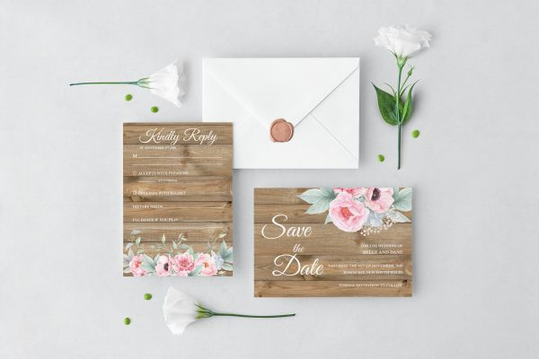Rustic Pink Peonies Wedding Set