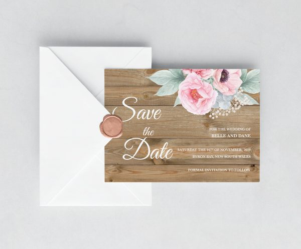 Rustic Pink Peonies Save the Date Card