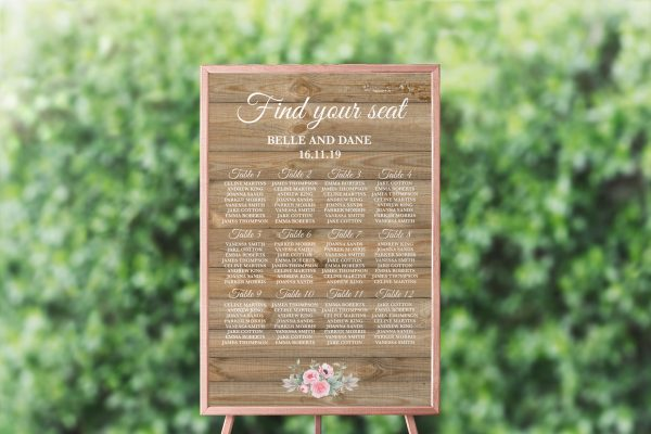 Rustic Pink Peonies Seating Chart