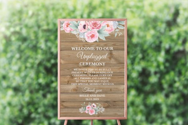 Rustic Pink Peonies Unplugged Sign